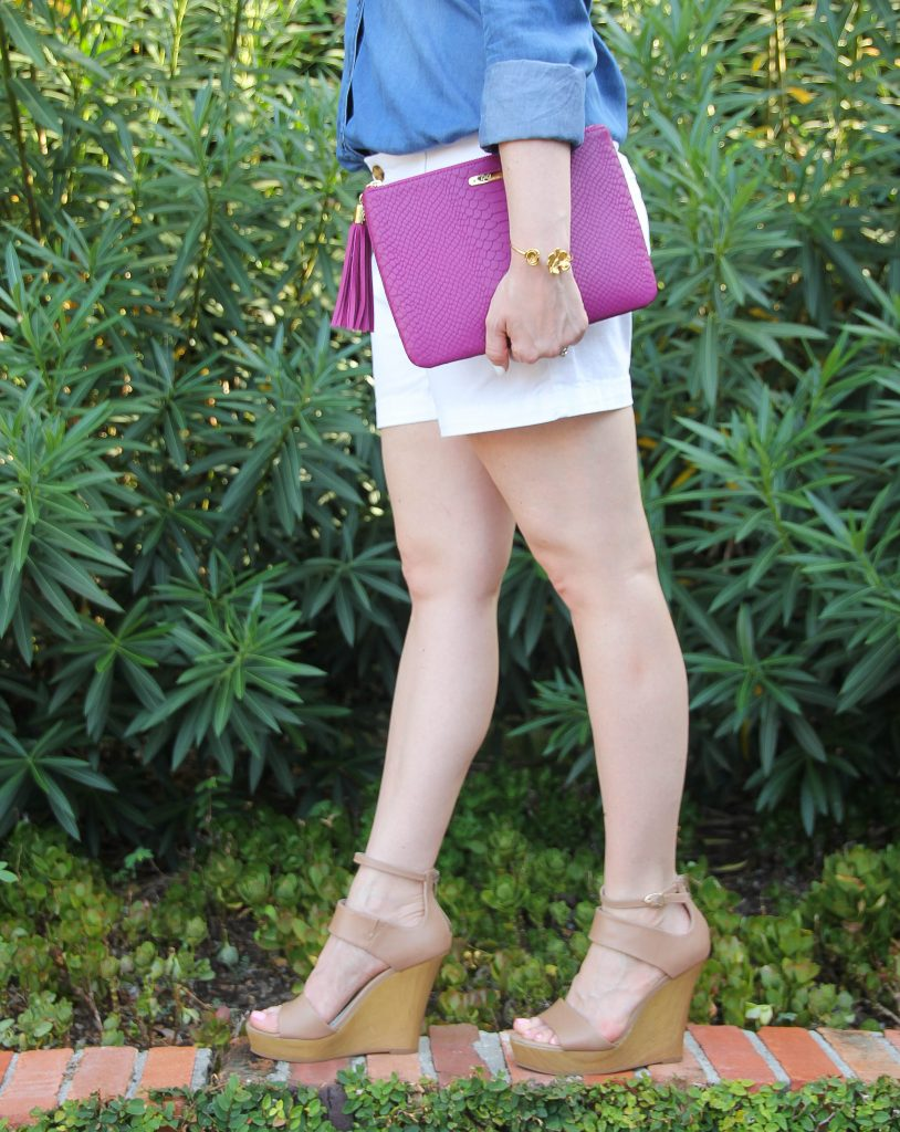 pink clutch nude wedges white shorts