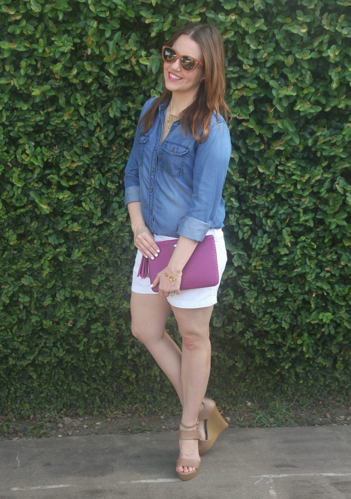 casual weekend outfit - cotton shorts and chambray shirt
