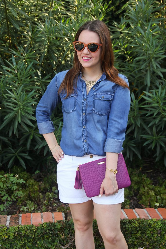 casual outfit - shorts and denim shirt