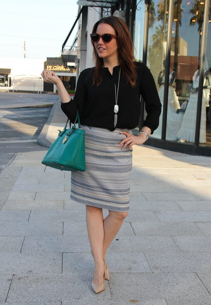 Work Outfit Striped Pencil Skirt