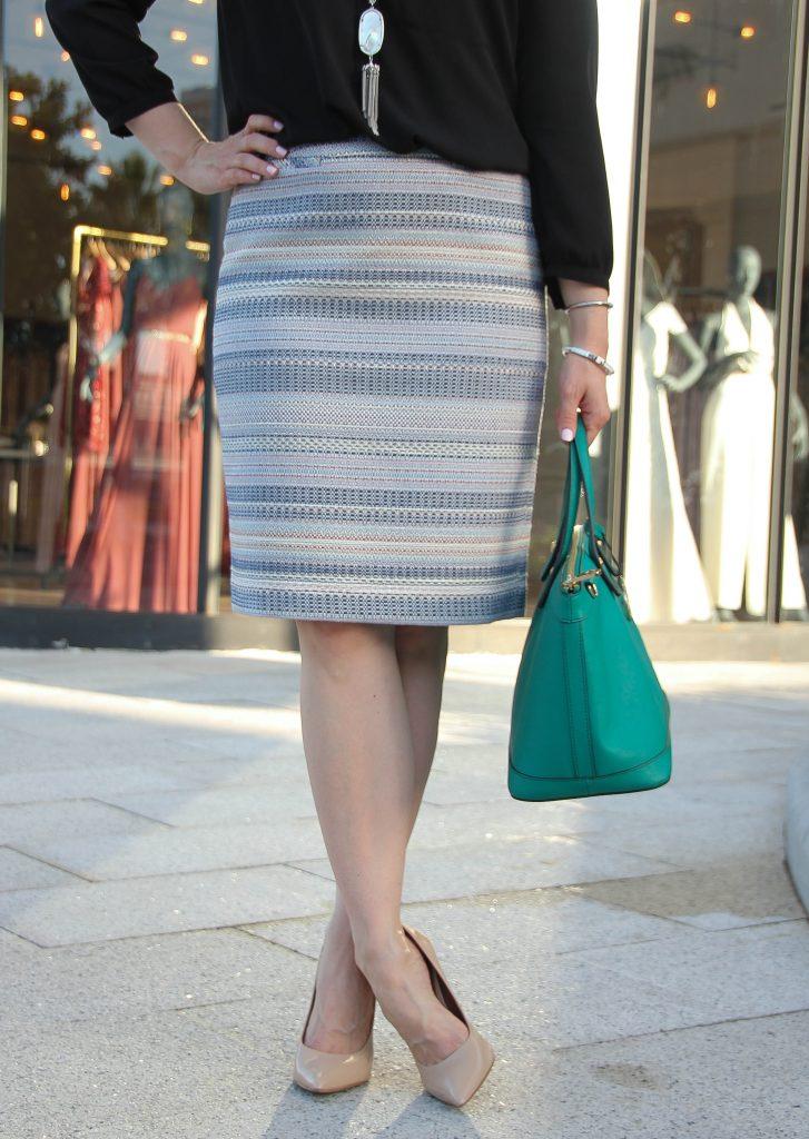Blue tweed striped pencil skirt