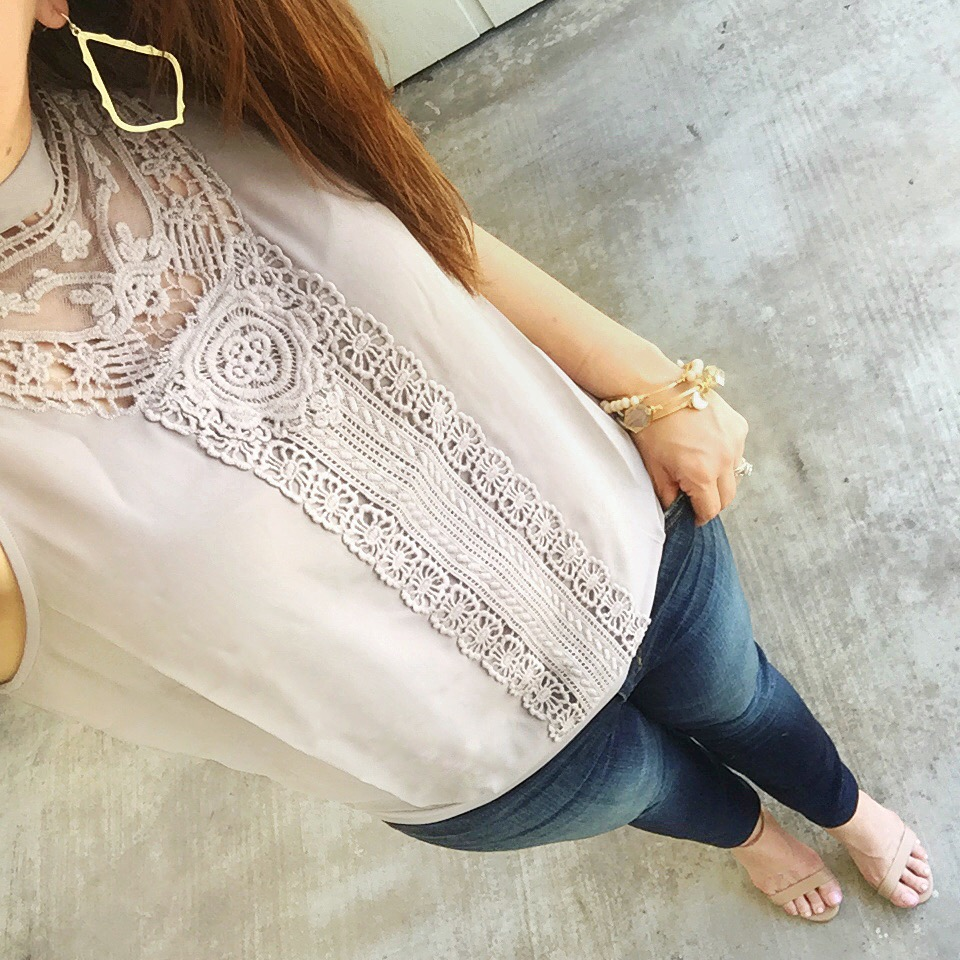 casual date night outfit jeans lace blouse