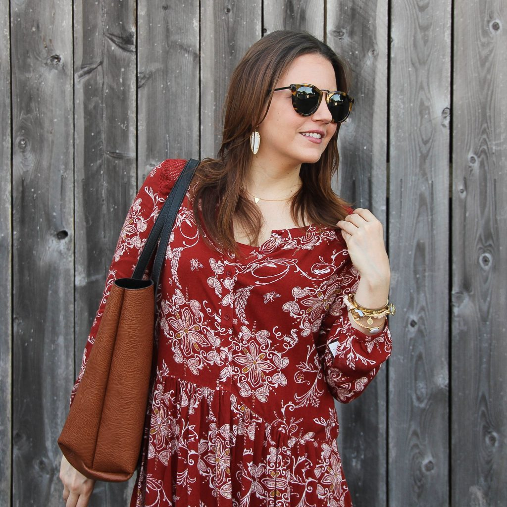 red casual dress and karen walker sunglasses **rent free with code in post**