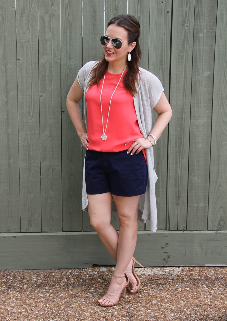 Summer fashion - navy shorts gray vest