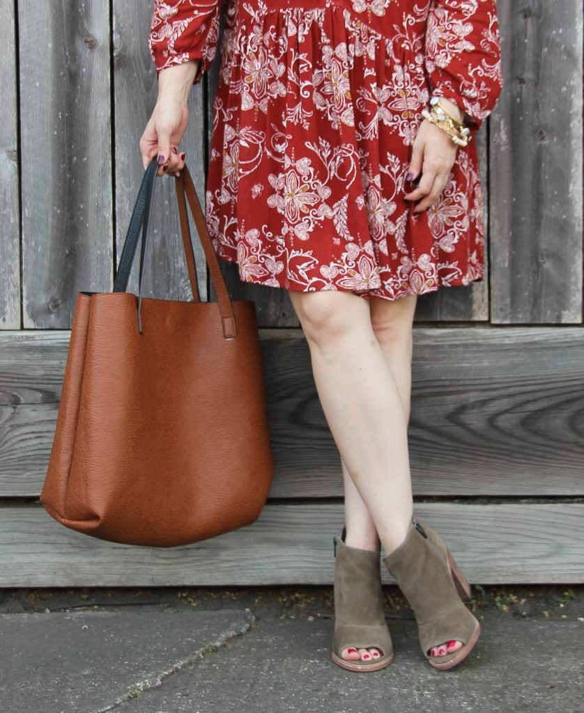 suede peep toe booties and brown tote bag