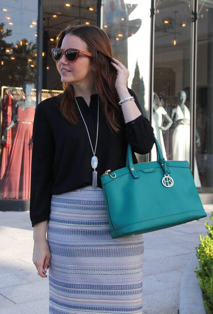 work fashion pencil skirt black blouse