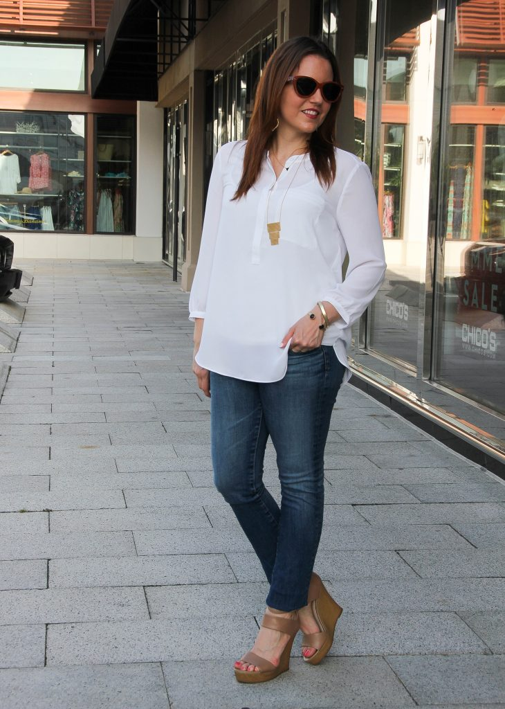 weekend outfit - white blouse jeans wedges