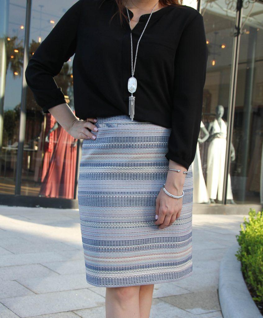 light blue striped pencil skirt work style