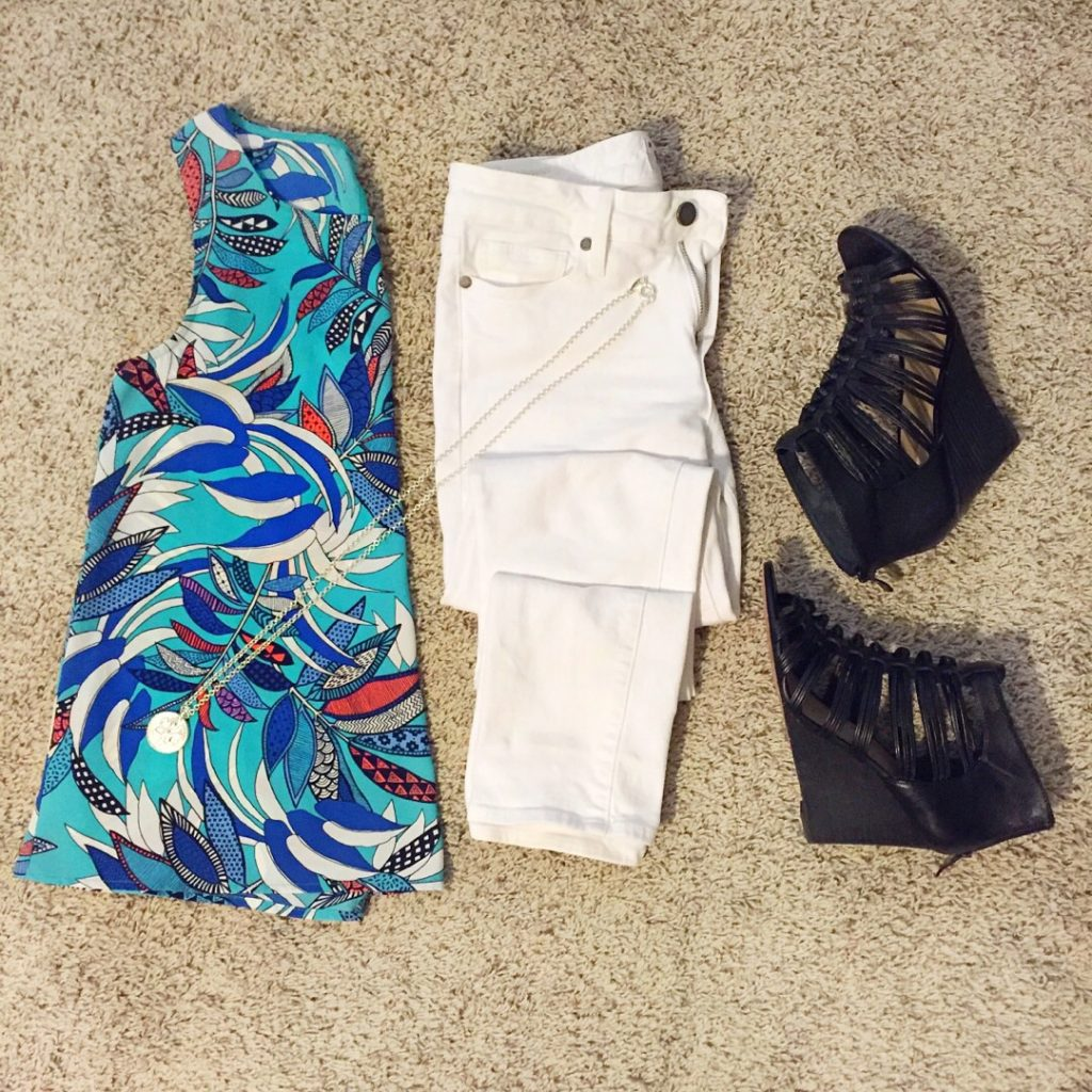 summer outfit flatlay- white jeans