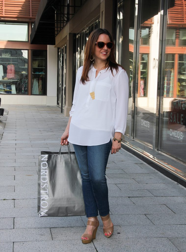 spring fashion outfit - white top jeans