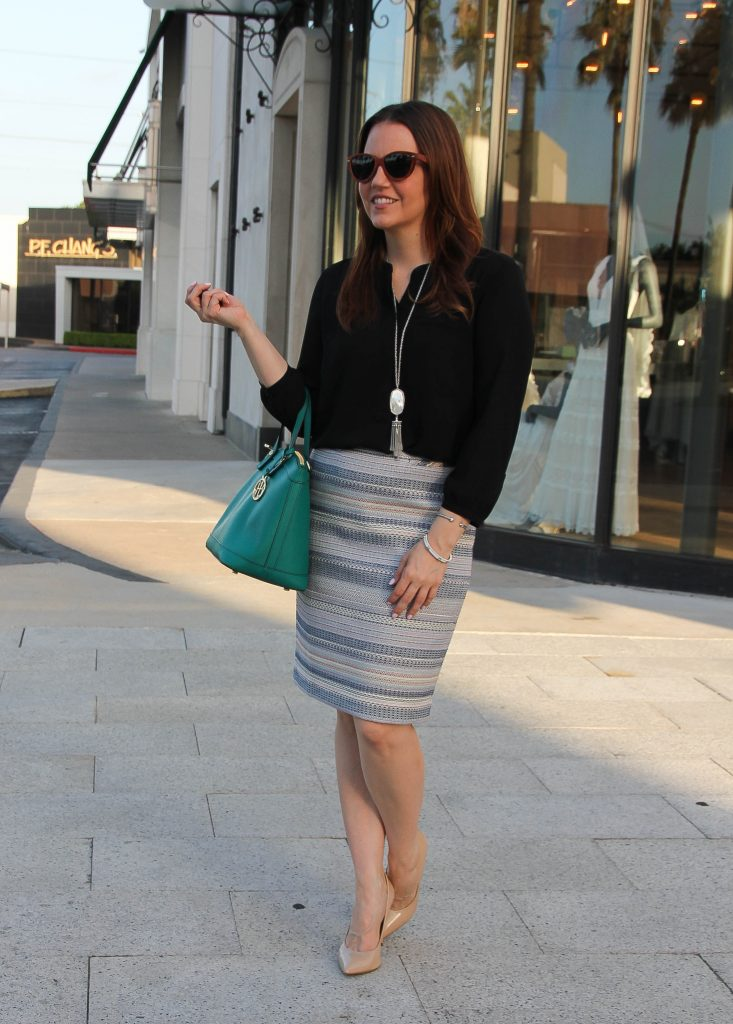 spring work outfit - pencil skirt nude heels