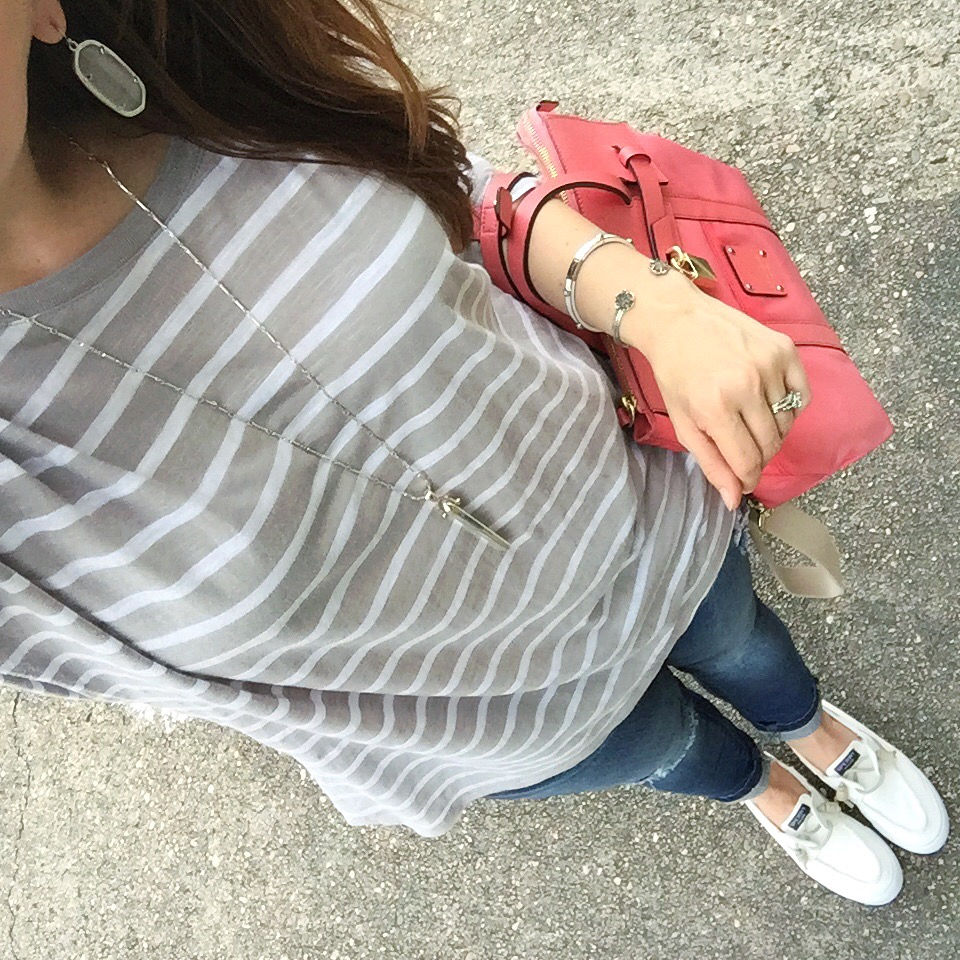 casual weekend outfit striped tee jeans sneakers