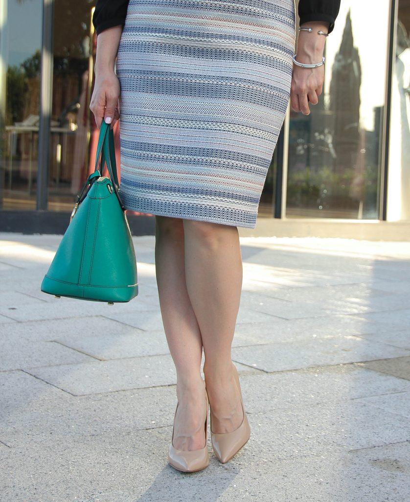 Blue striped pencil skirt henri bendel satchel