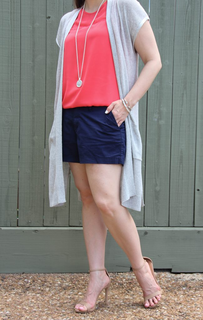 summer weekend outfit - shorts and heels