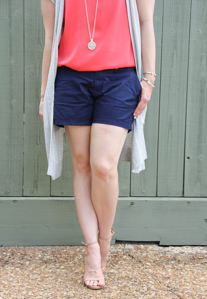 navy shorts with nude heel sandals - cute!