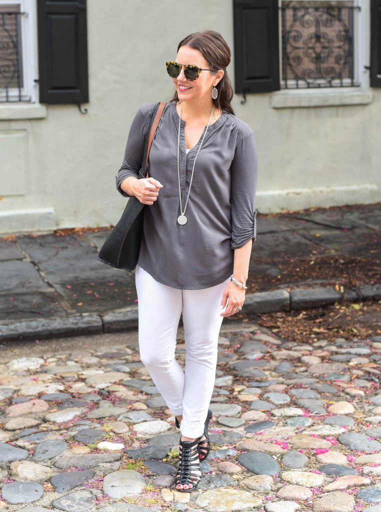 casual summer outfit with white jeans
