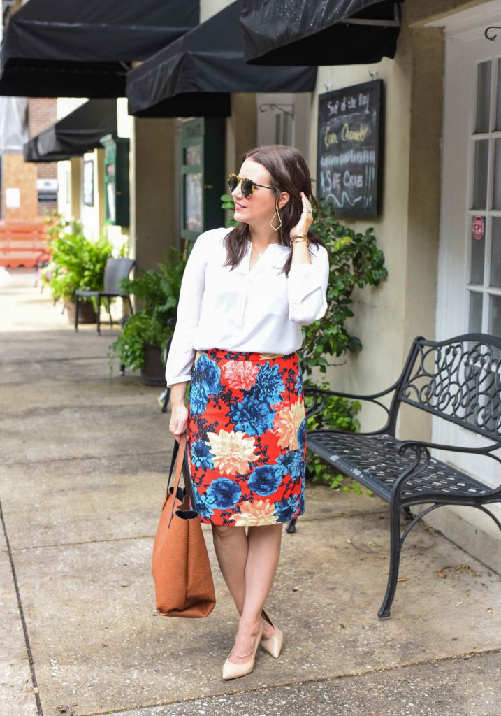 fall office outfit with a floral pencil skirt