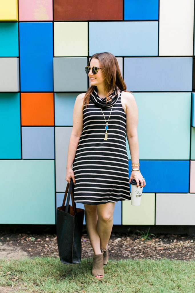 early fall outfit striped cowl neck shift dress