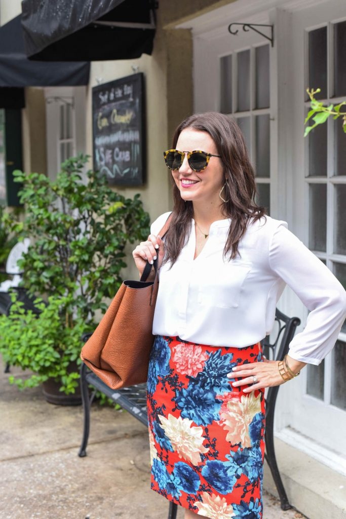 floral pencil skirt outfit