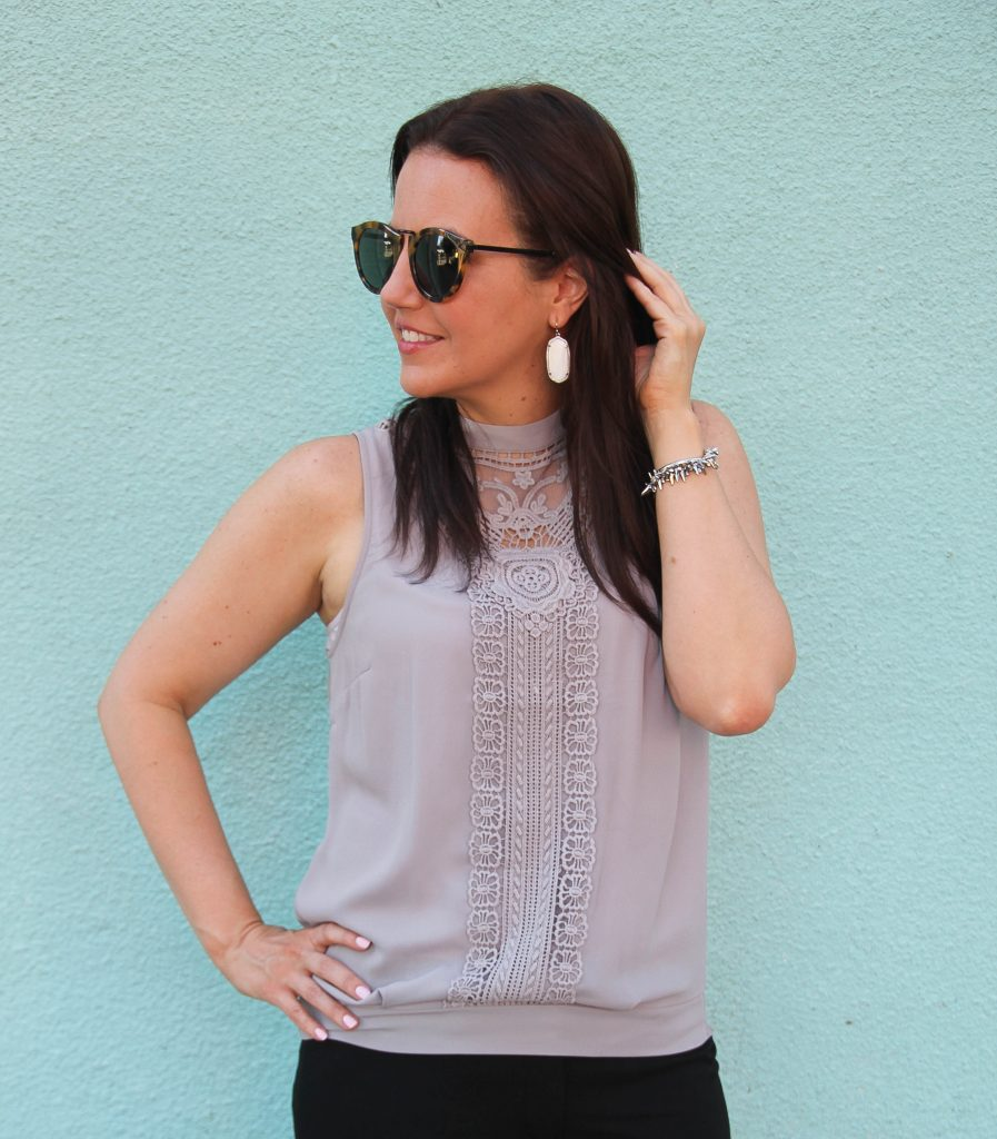 gray lace sleeveless blouse kendra scott elle earrings