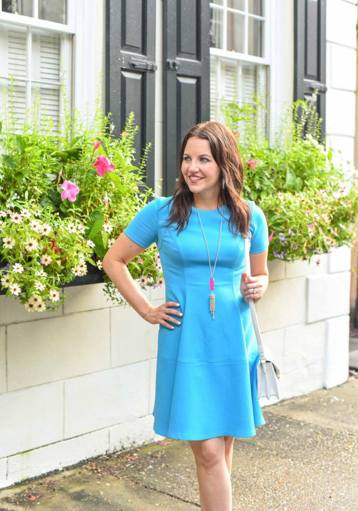 shoshanna blue dress kendra scott rayne necklace