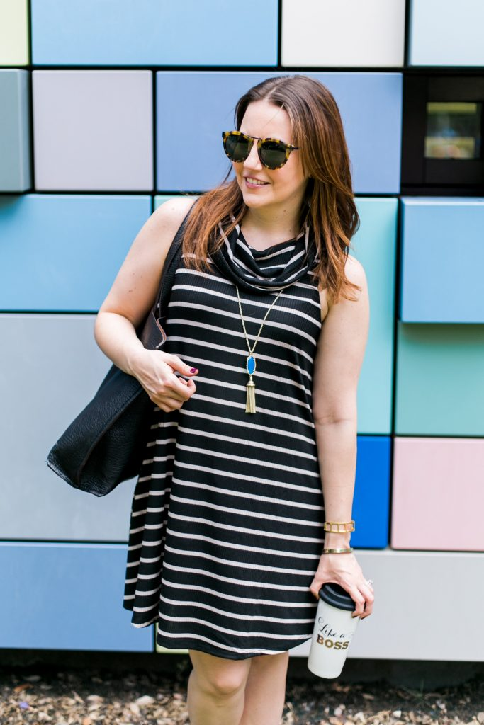 socialite striped cowl neck shift dress with kendra scott necklace