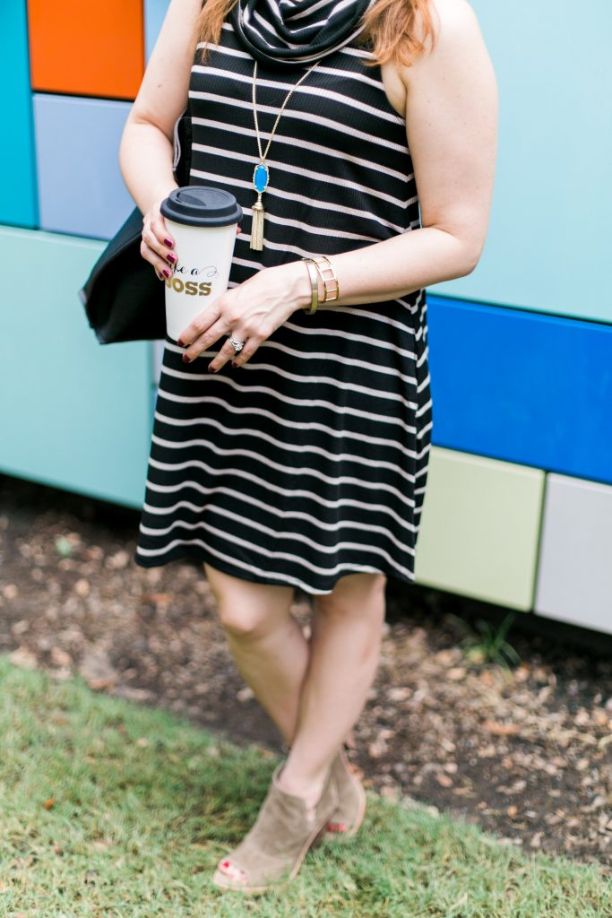 fall casual outfit cowl neck shift dress peep toe suede booties