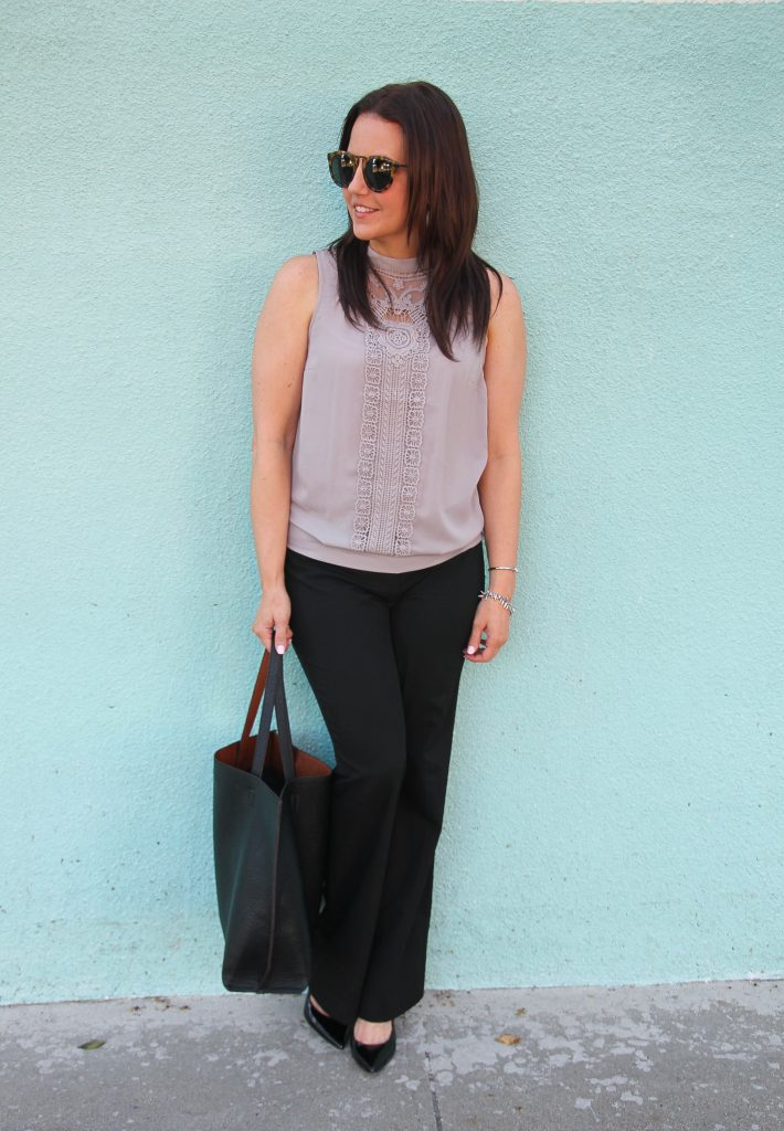 work outfit idea - black pants and gray sleeveless blouse