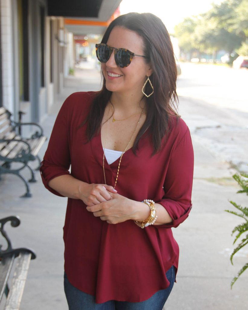 lush crepe blouse from nordstrom karen walker sunglasses