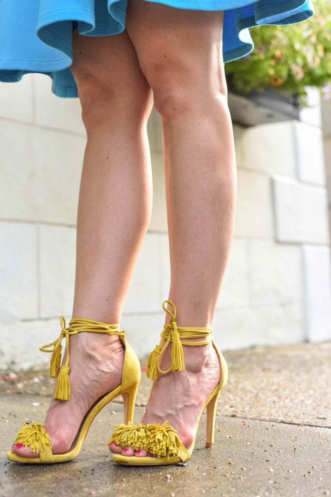 Yellow Fringe Heels with lace up ties