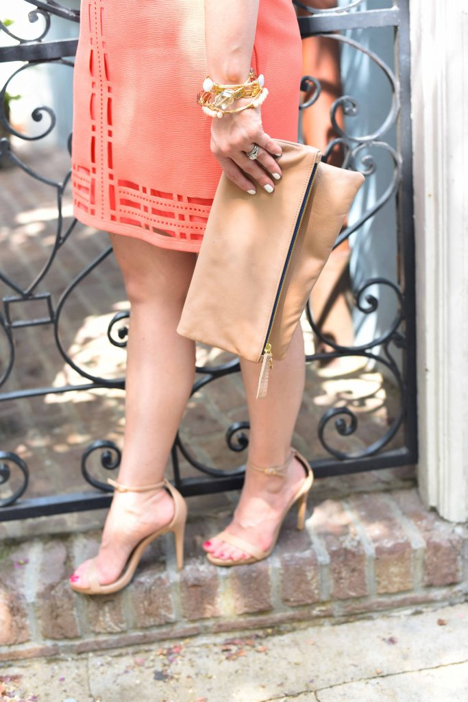 summer heels for party and nude foldover clutch