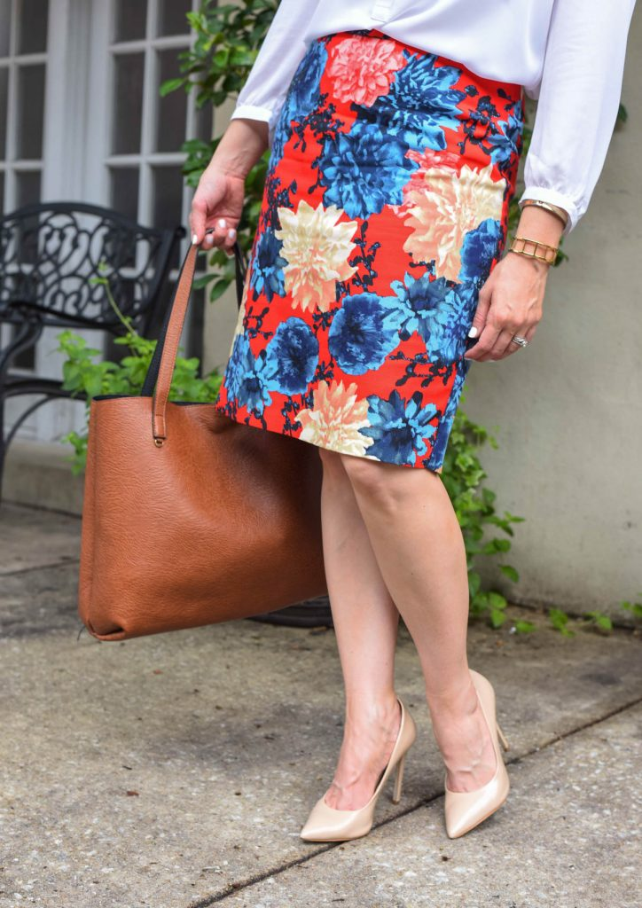 dahlia flower pencil skirt and nude heels for work