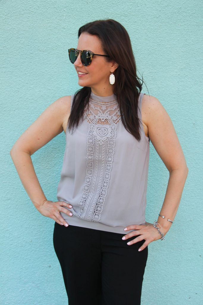 chelsea28 gray lace detail tank and karen walker sunglasses