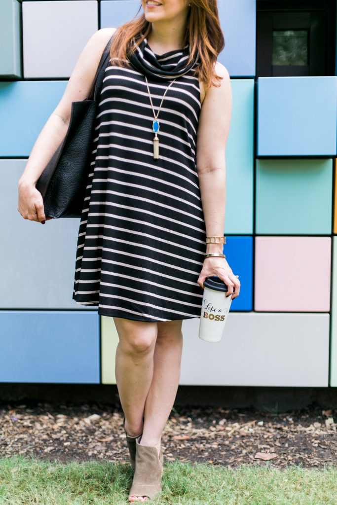 fall outfit inspiration - striped dress with taupe booties and long pendant necklace