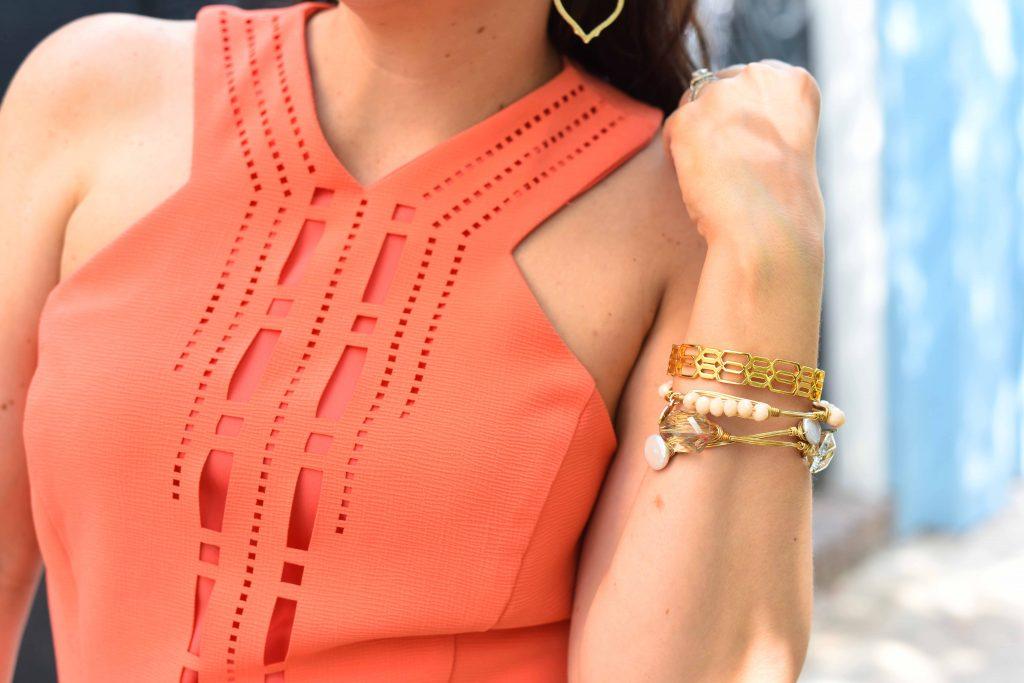 gorjana gold cuff bracelet and stone bangles
