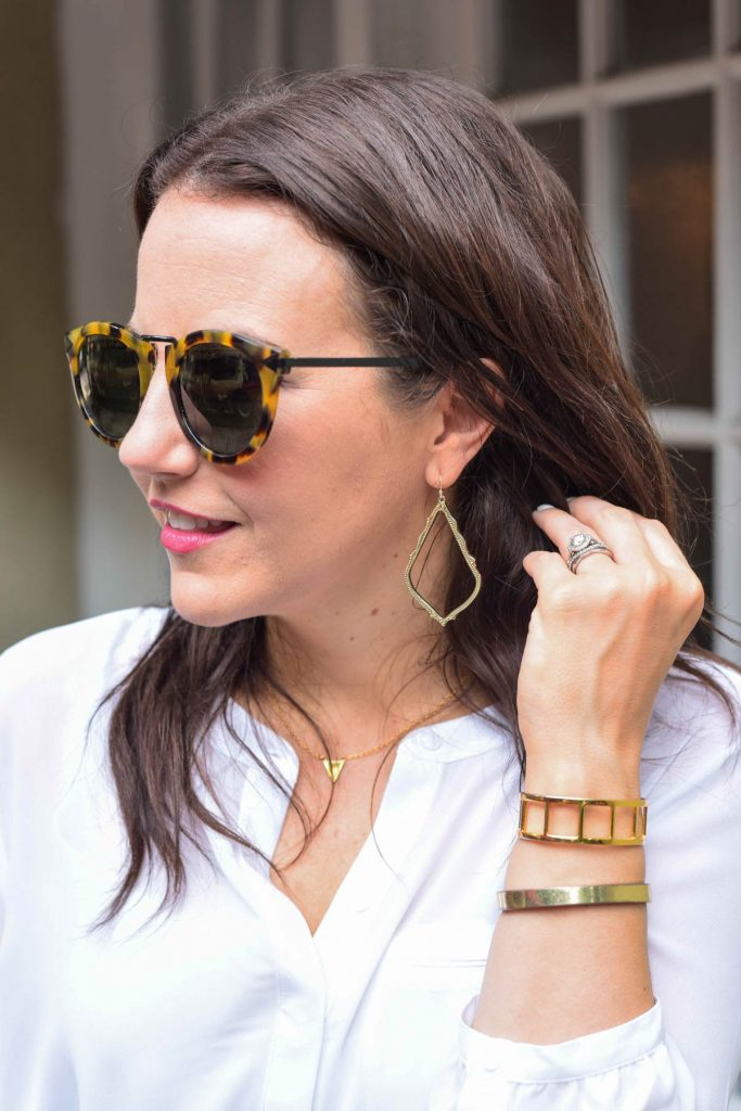 gorgeous gold drop earrings and gold bangle bracelets for work