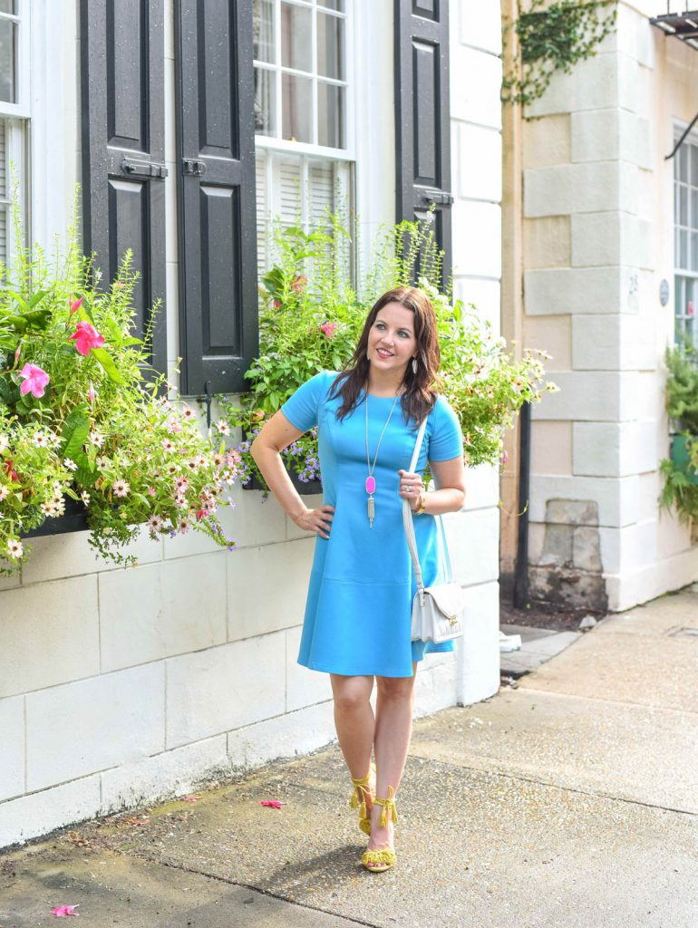 TBSCon Charleston - Blue Fit and flare dress with yellow heels