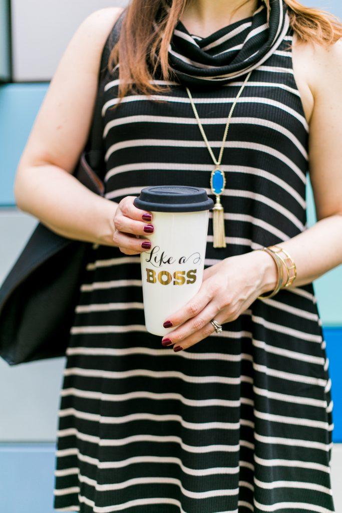 girl boss coffee mug and gold bracelets