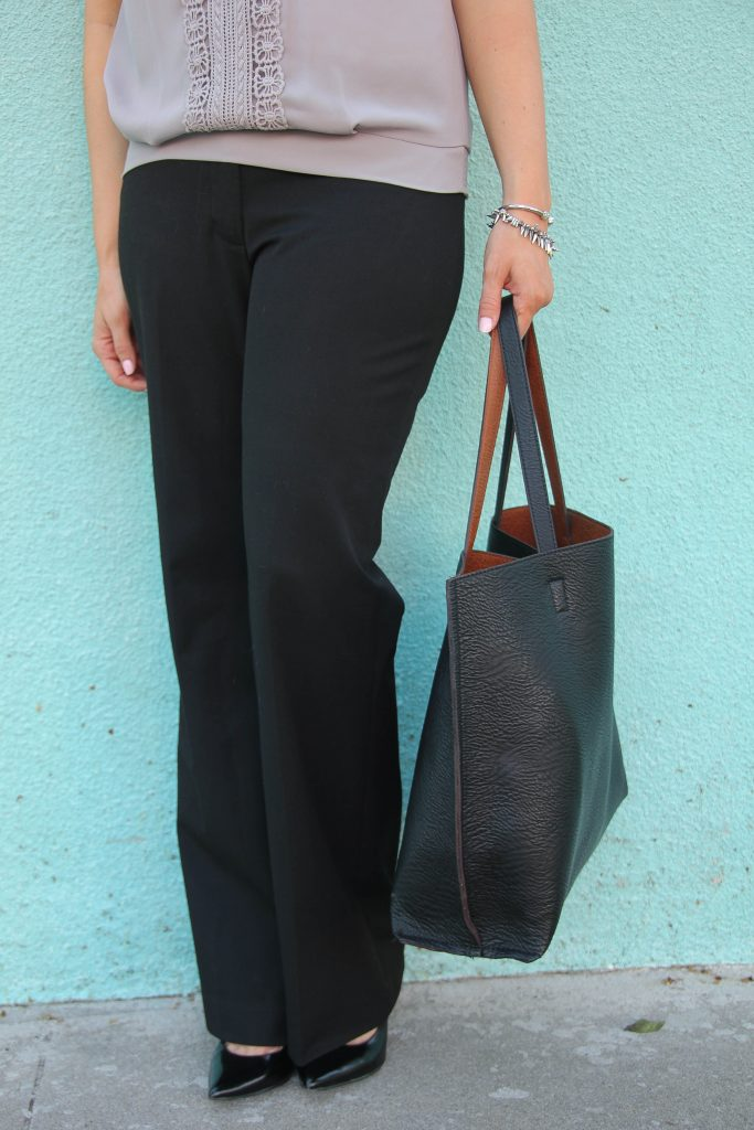 flared work pants outfit
