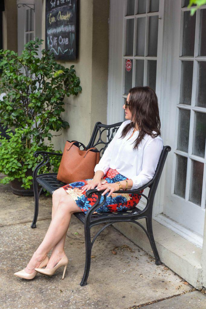 work wear pencil skirt white blouse in charleston sc