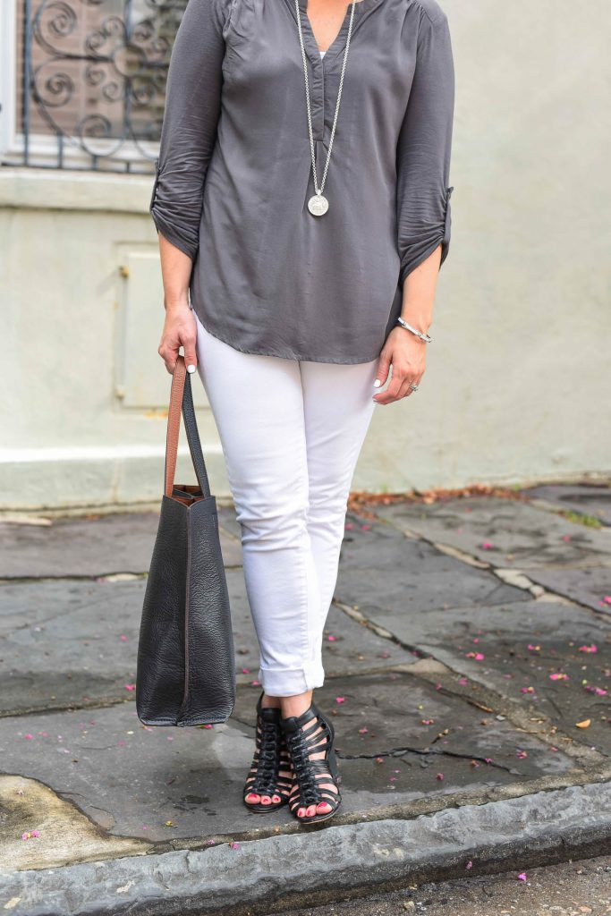 casual outfit white jeans black wedges gray top