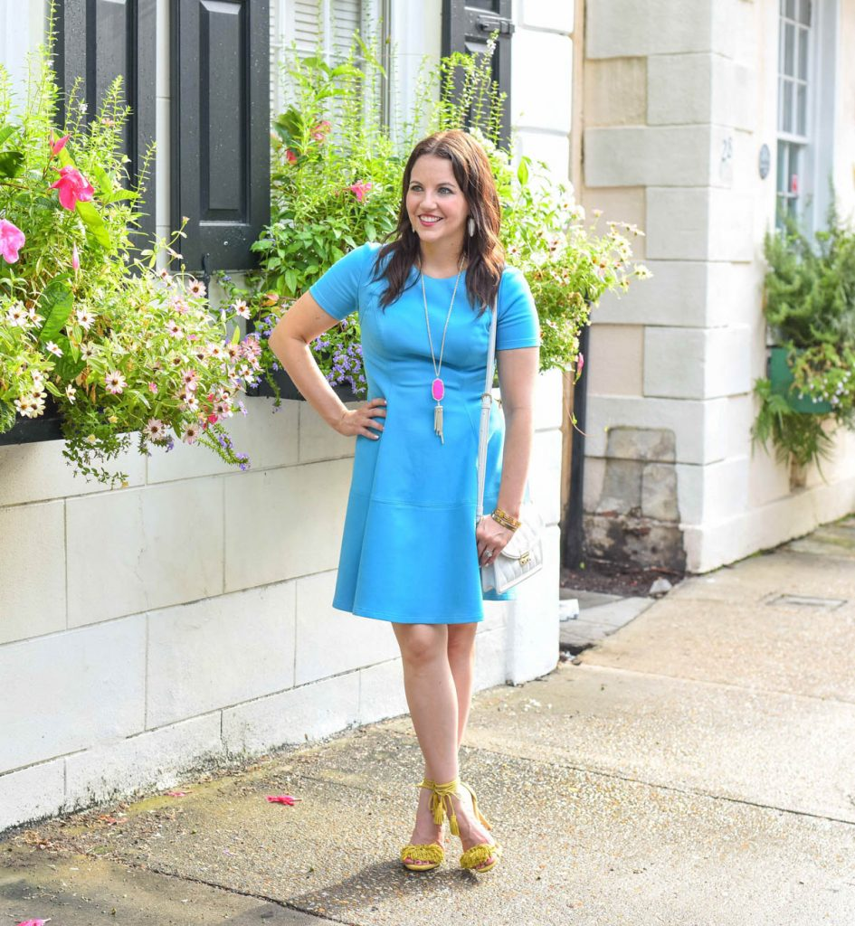 what to wear to the blog societies conference - blue rent the runway dress
