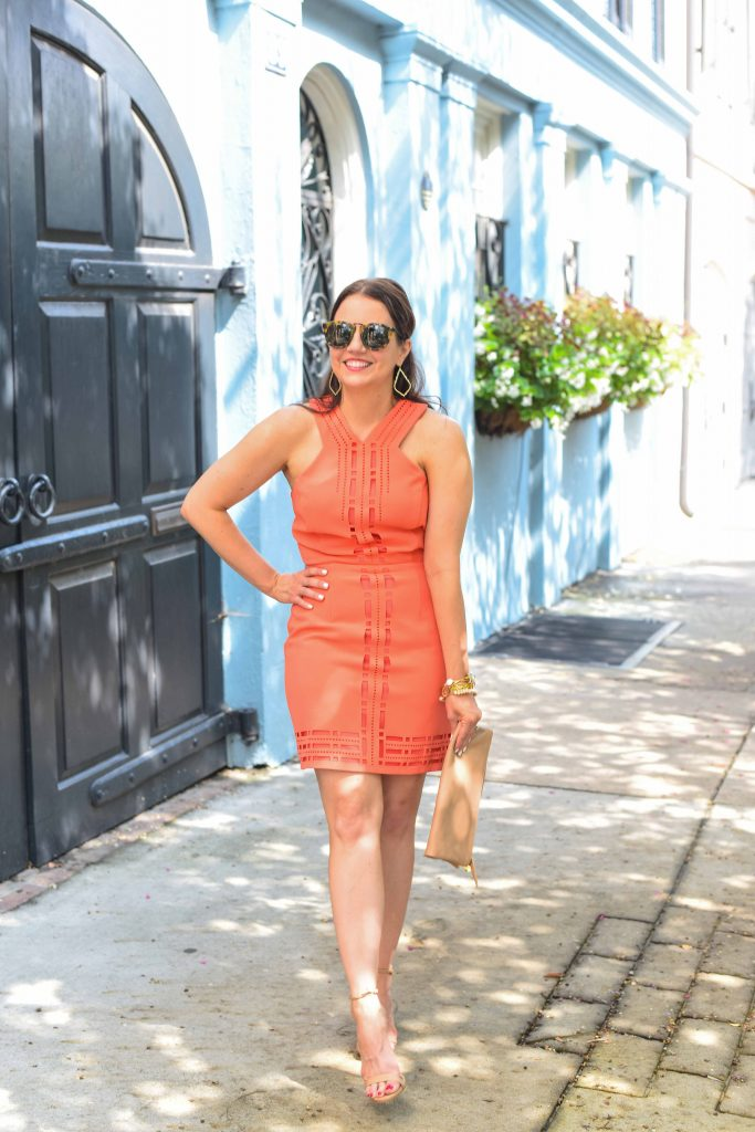 what to wear to summer cocktail party orange dress