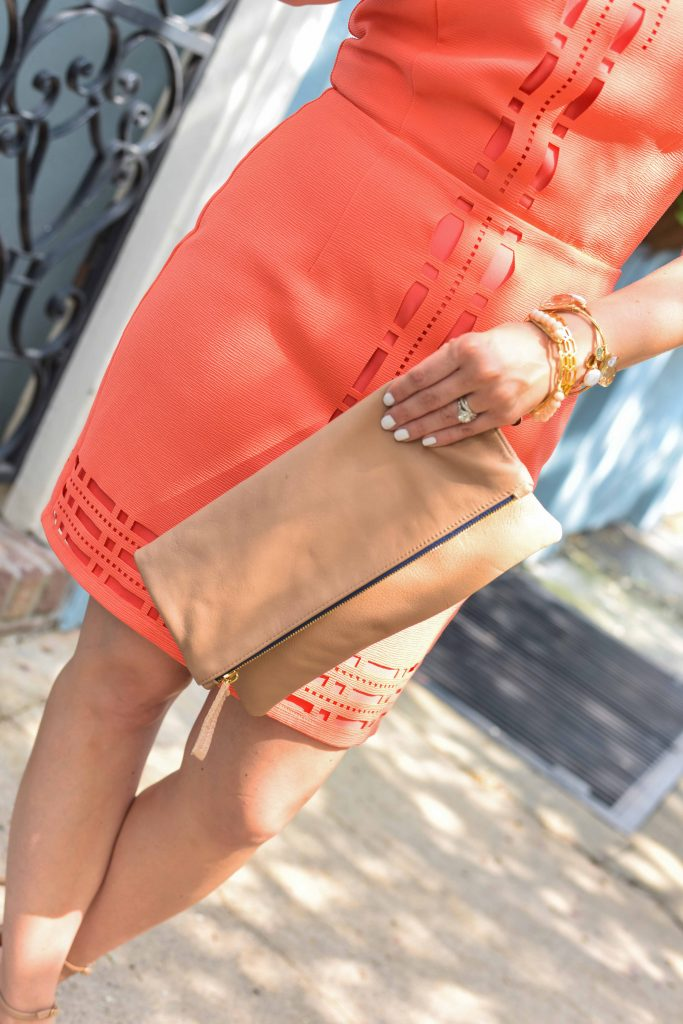 orange cocktail dress and clare v foldover clutch