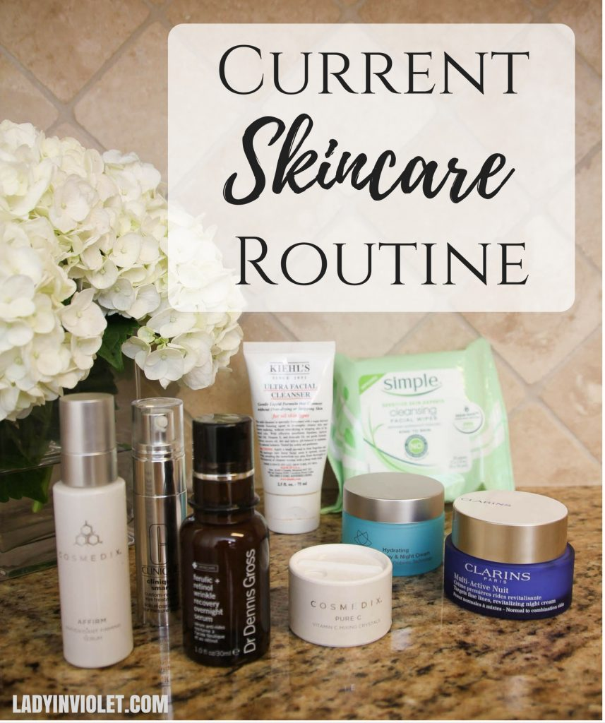 LadyinViolet shares her current skincare routine to fight wrinkles and redness.