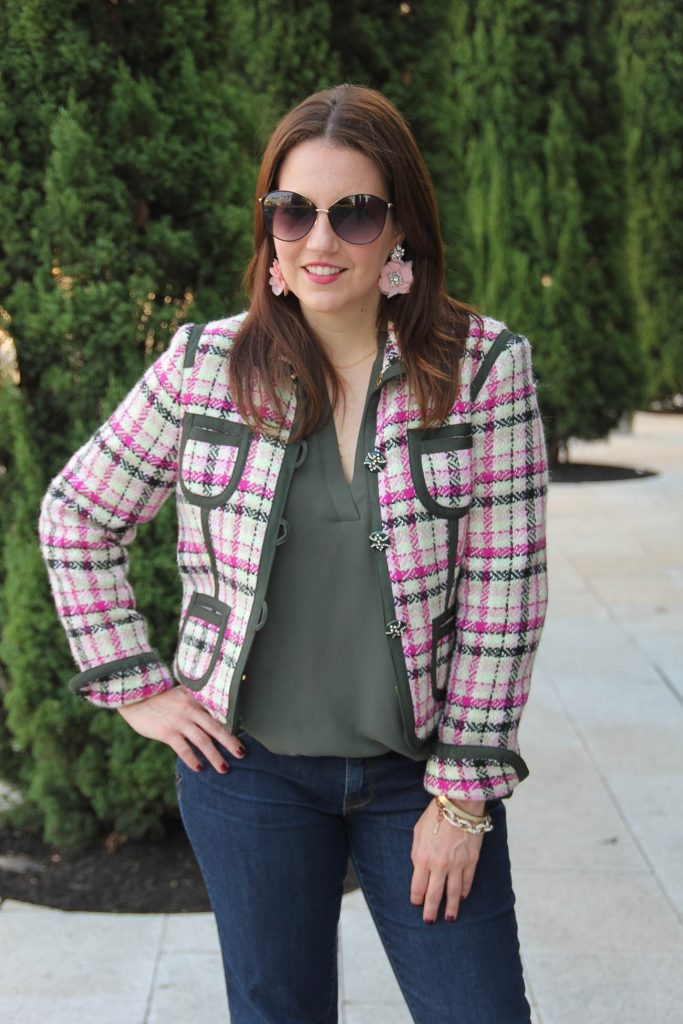 LadyinViolet wears a classic fall jacket style with an olive tunic.