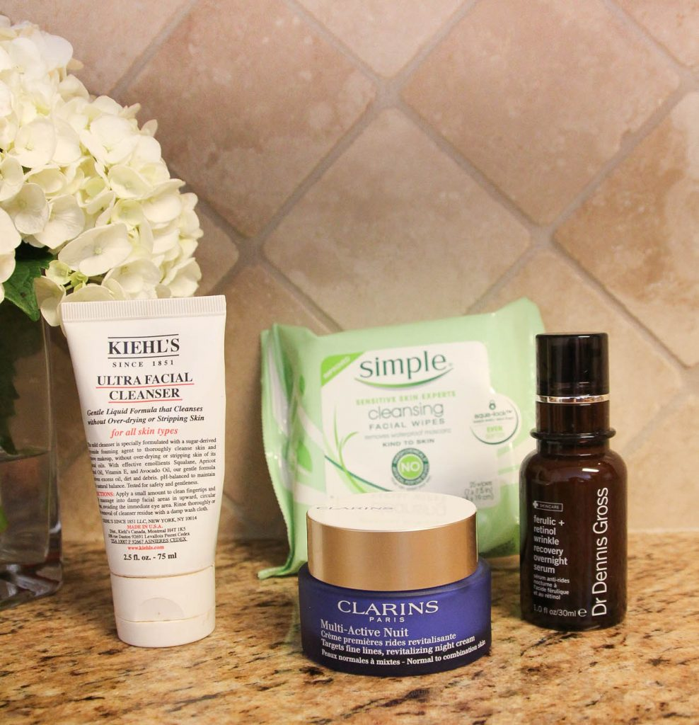 A night skincare routine featuring a retinol serum and two step face cleaning method