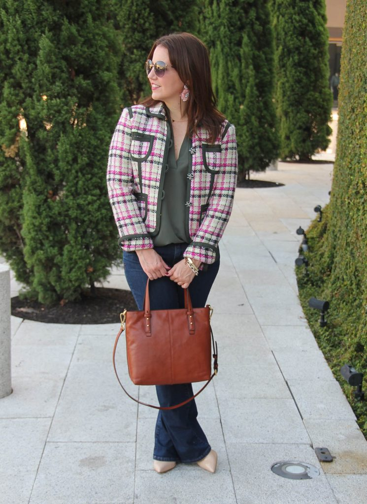 Houston Fashion Blogger shares a fall outfit idea with flared jeans and a vintage tweed jacket.