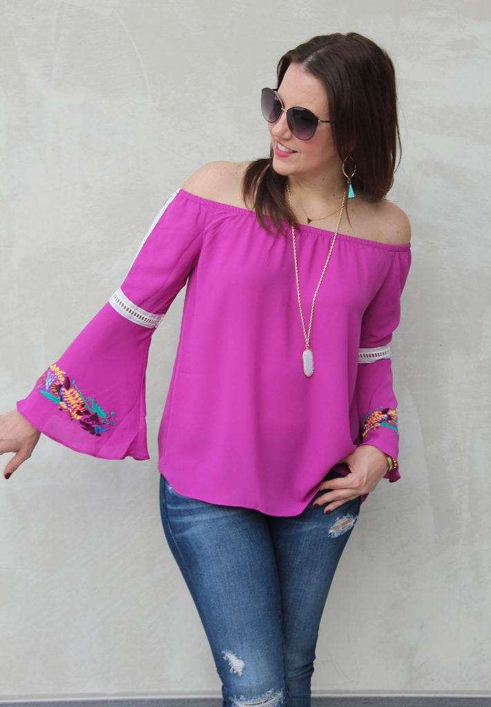 LadyinViolet wears the fall fashion trend, bell sleeve tops.