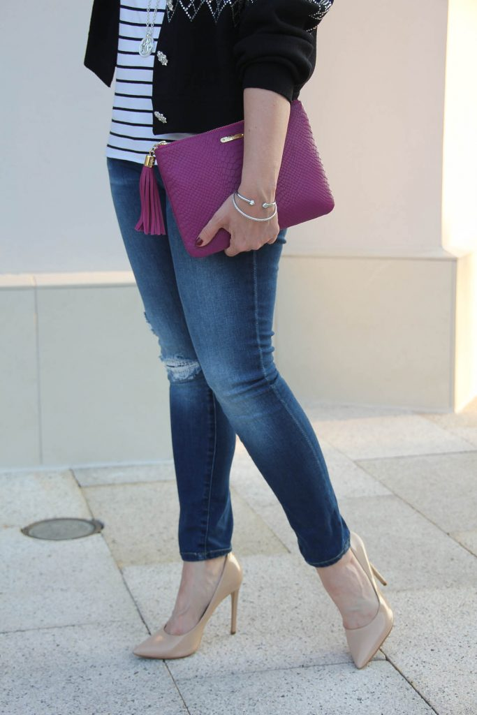 Houston Fashion blogger shares tips on how to dress up distressed jeans for a party